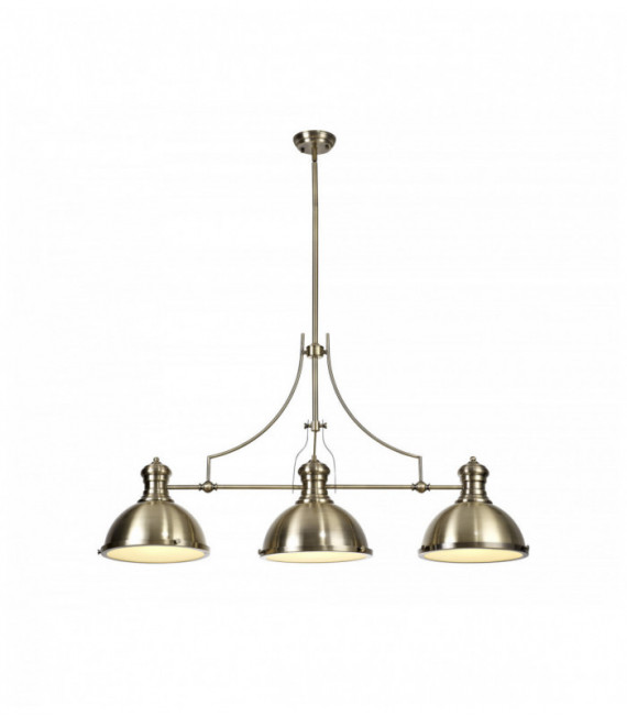 Suspension design Arianna 3 Ampoules Laiton antique 30 Cm