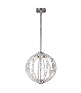 Suspension Oberlin, petite, nickel satiné, perles claires