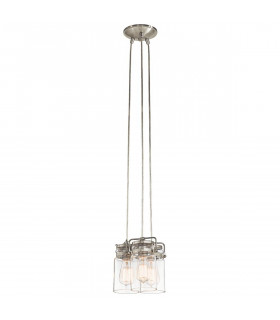 Suspension Brinley, nickel brossé, verre, 3 éclairages