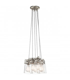 Suspension Brinley, nickel brossé, verre, 6 éclairages