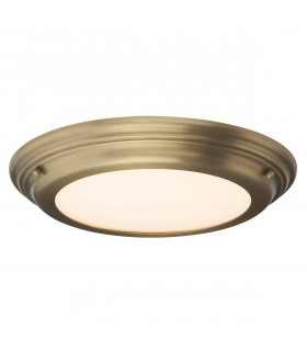 Plafonnier Welland, laiton antique, verre opale, module LED, IP44