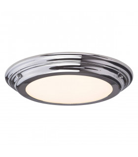Plafonnier Welland, chrome poli, verre opale, module LED, IP44