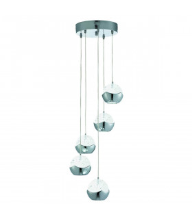 Suspension 5 LED Iceball en chrome et verre