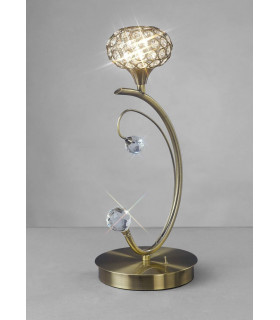 Lampe de Table Cara 1 Ampoule laiton antique/cristal