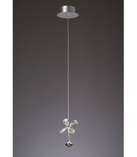 Suspension Aviva 1 Ampoule 4000K LED chrome poli/cristal