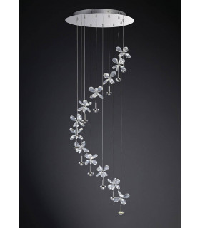 Suspension Aviva 12 Ampoules 4000K LED chrome poli/cristal