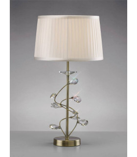 Lampe de Table Willow avec Abat jour blanc 1 Ampoule laiton antique/cristal