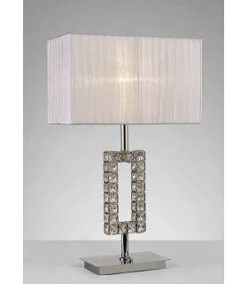 Lampe de Table Florence Rectangle avec Abat jour blanc 1 Ampoule chrome poli/cristal