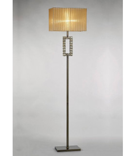 Lampadaire Florence Rectangle avec Abat jour bronze 1 Ampoule laiton antique/cristal