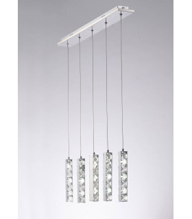 Suspension Galaxy 5 Drop 15W LED 6000K chrome poli/cristal