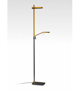 Lampadaire Phuket 2 Ampoules 21W Down 7W Up LED 3000K, 3000lm, cuivre/anthracite