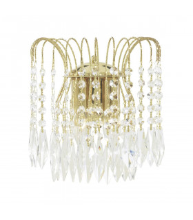 Applique 2 ampoules Waterfall, en or et cristal