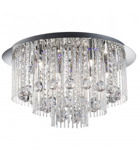 Plafonnier LED Beatrix, en chrome et cristal