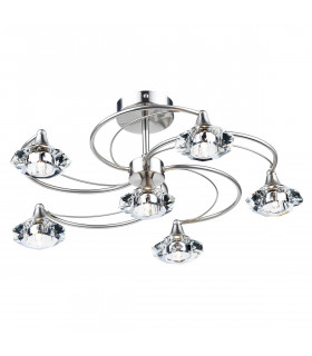 Plafonnier Luther chrome satiné et cristal 6 ampoules