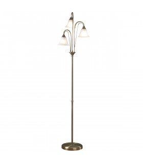 Lampadaire Boston laiton antique et verre opale 3 ampoules