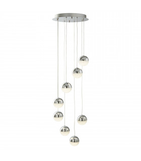 Suspension Marbles, chrome et verre, 8 ampoules