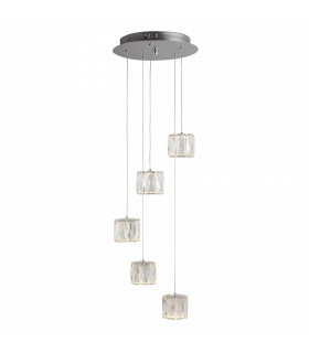 Suspension Maxim, chrome et verre, 5 ampoules