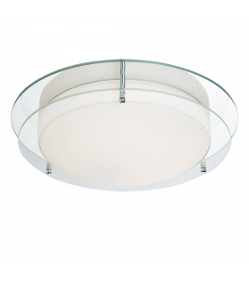 Plafonnier 38cm Bathroom, chrome, verre clair et opale