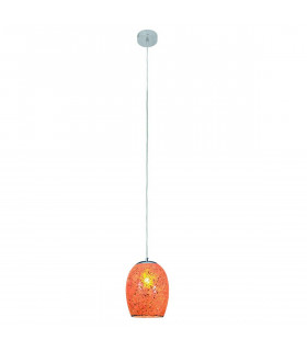 Suspension 1 ampoule Crackle, en chrome et verre orange